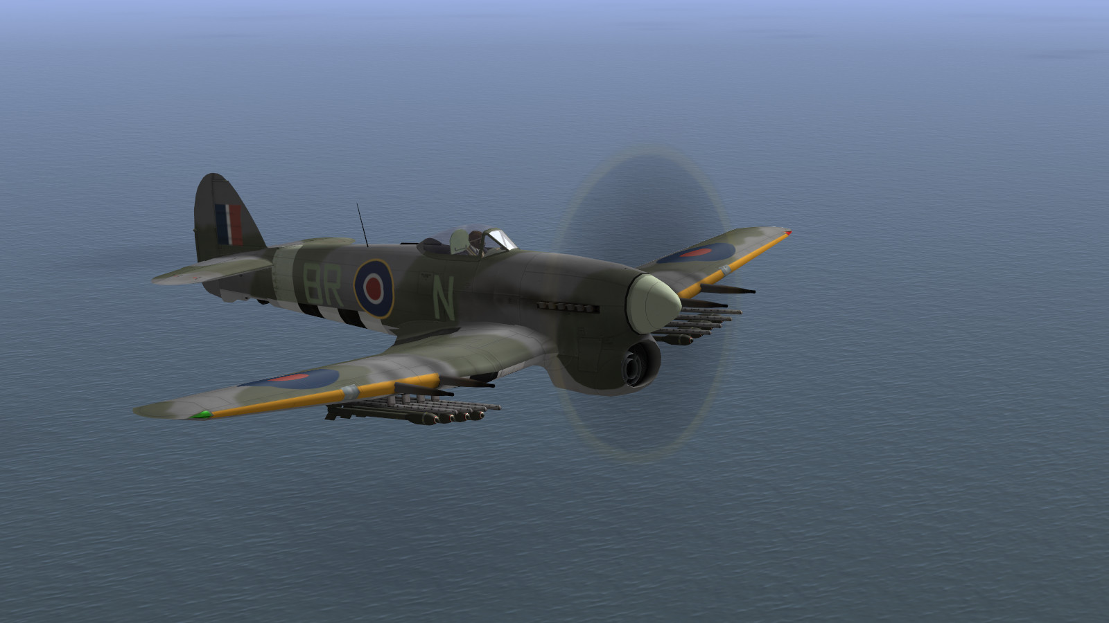 IL-2 + Dark Blue World, scene from Poltava's Typhoons over Normandy campaign