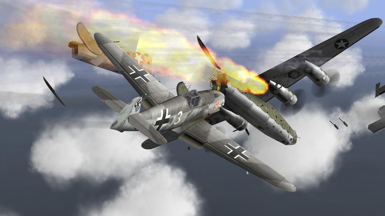 IL-2 + Dark Blue World, scene from FlatSpinMan's Defence of the Reich campaign