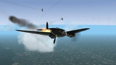 He 111 On fire.