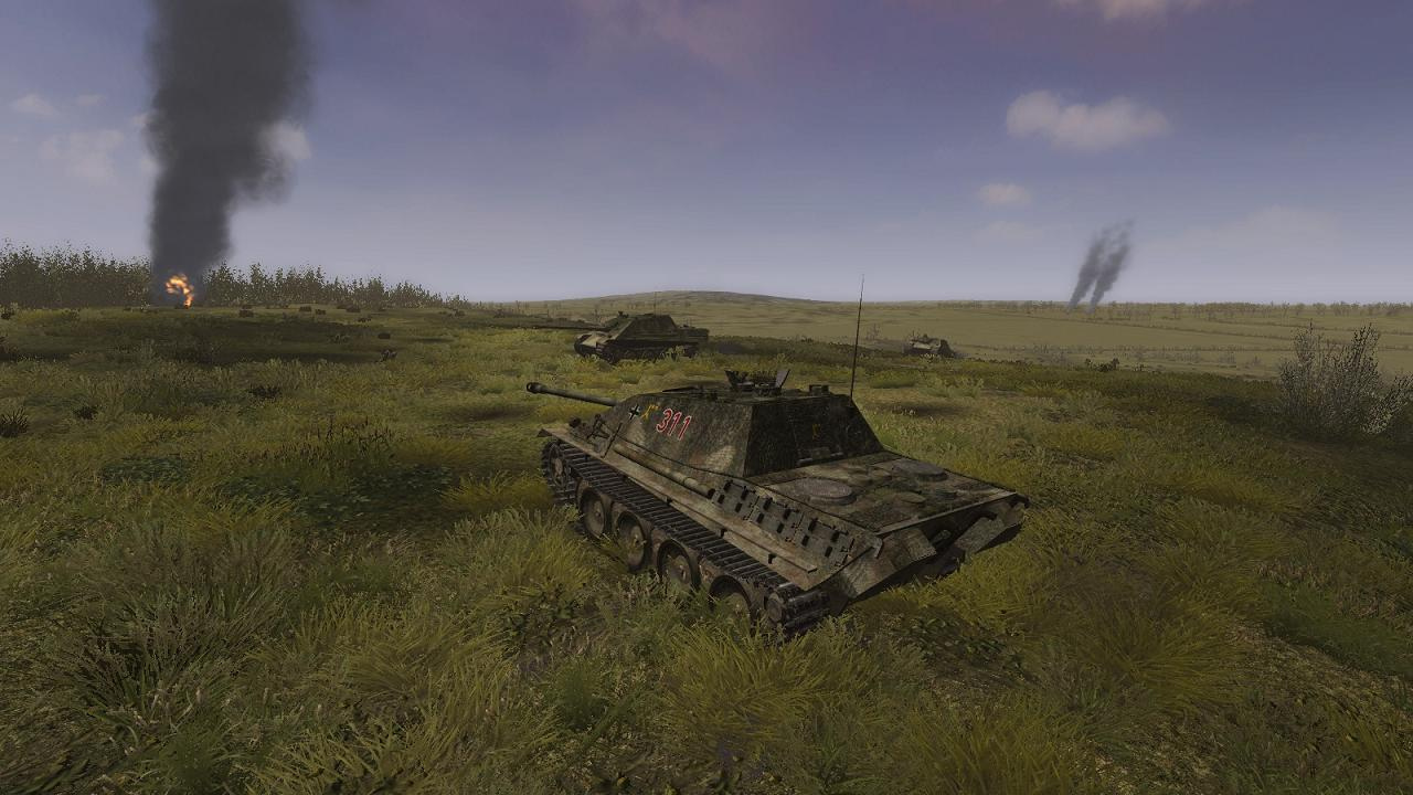 Steel Fury+STA mod: Op Bluecoat mission: Jagdpanther engaging Churchills on the reverse slope of Hill 226
