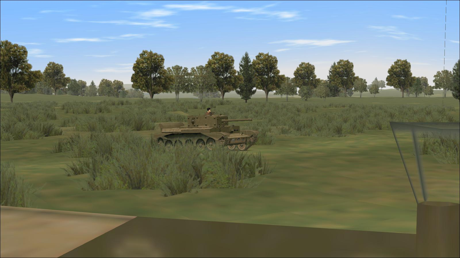 Panzer Elite + Brit44-x - view left rear from tank commander's hatch, Cromwell IV, Normandy