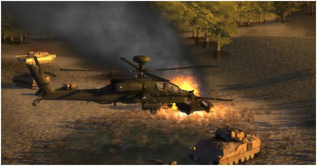 AH-64 Engaging Enemy Unit