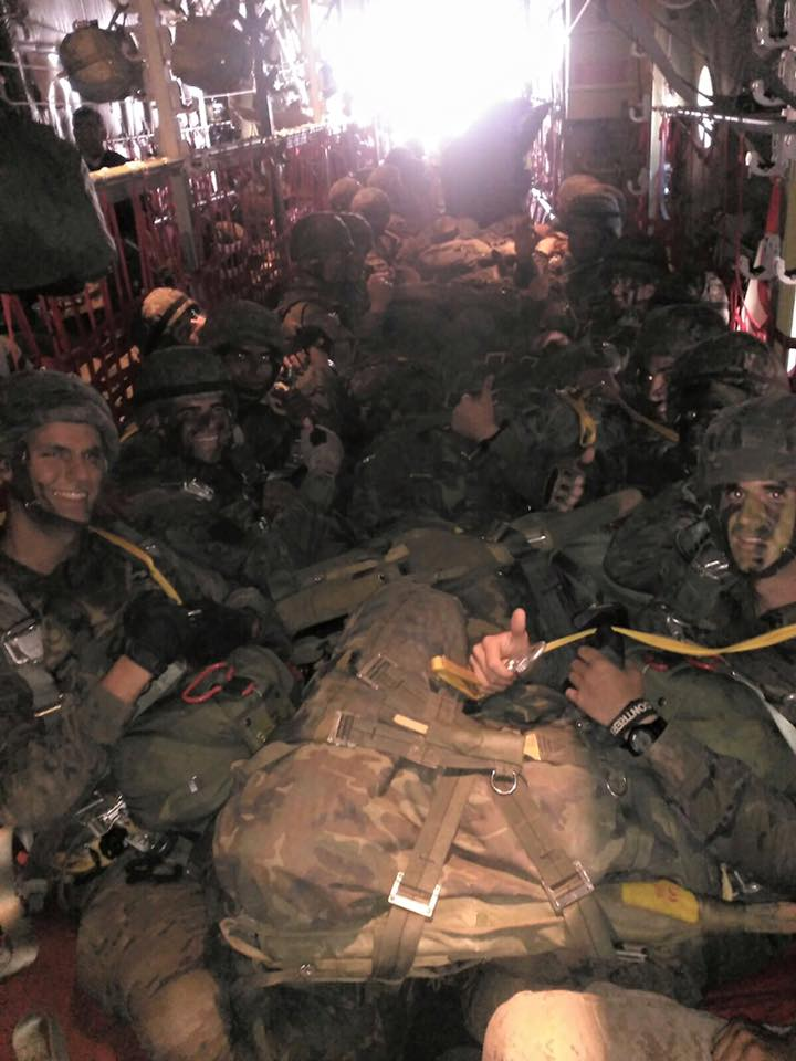 Spanish Paratroopers aboard VMGR252 KC130 before night jump