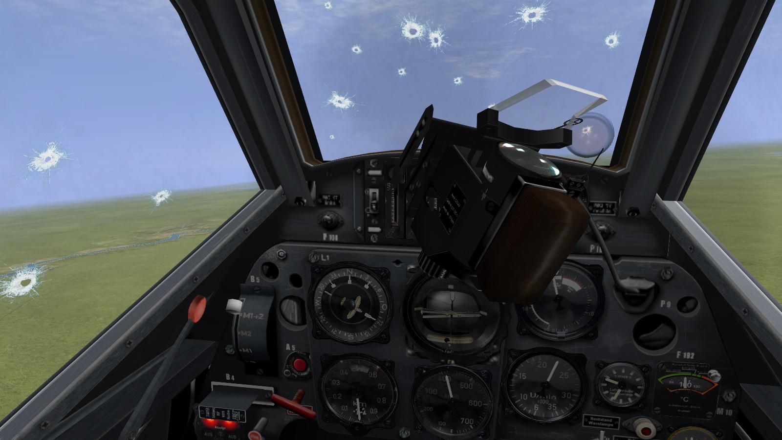 Shot up cockpit