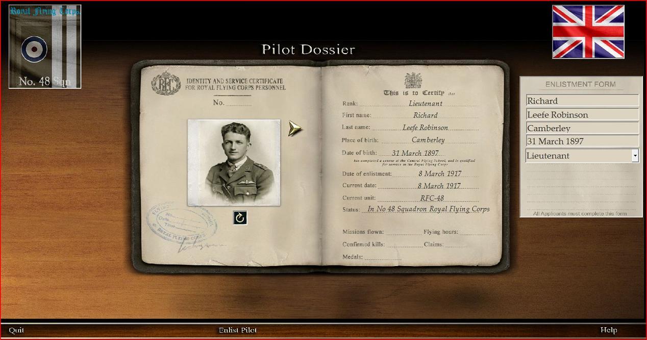 48 Sqdn pilot dossier on enlistment.JPG