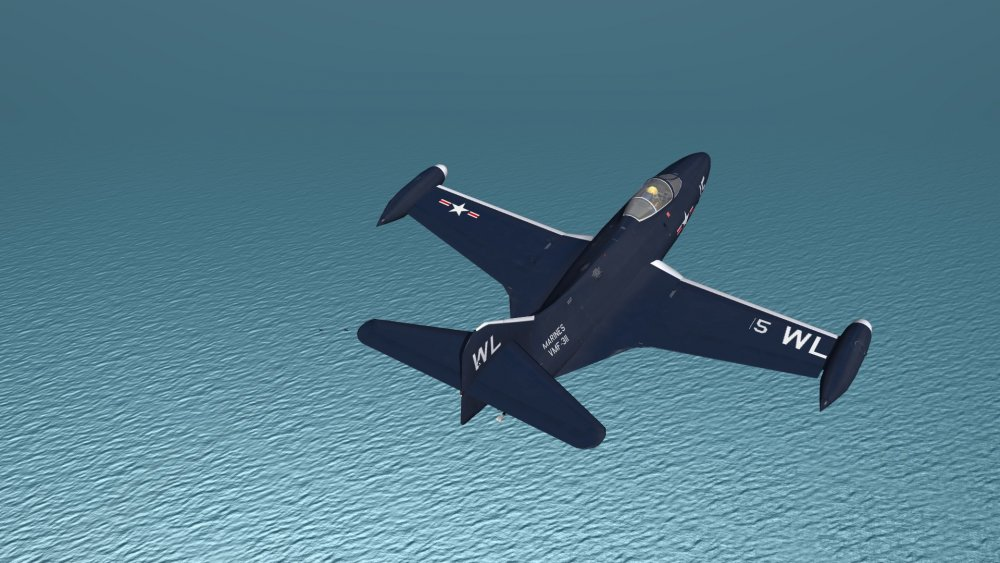 Step 26 F9F Escort Perched Above Departing F2H Flight.JPG