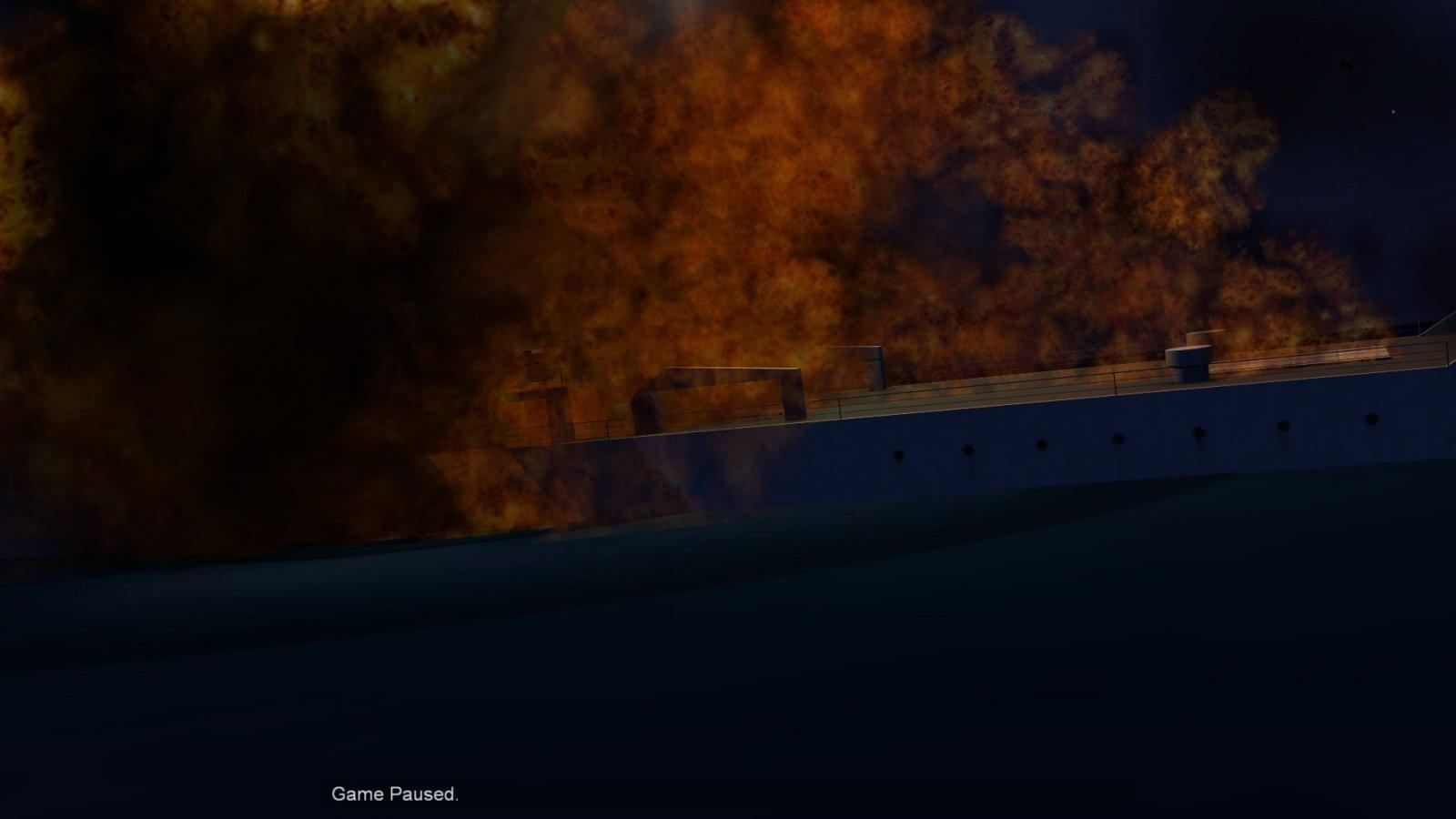 Flames Consuming Sinking Russian Ship