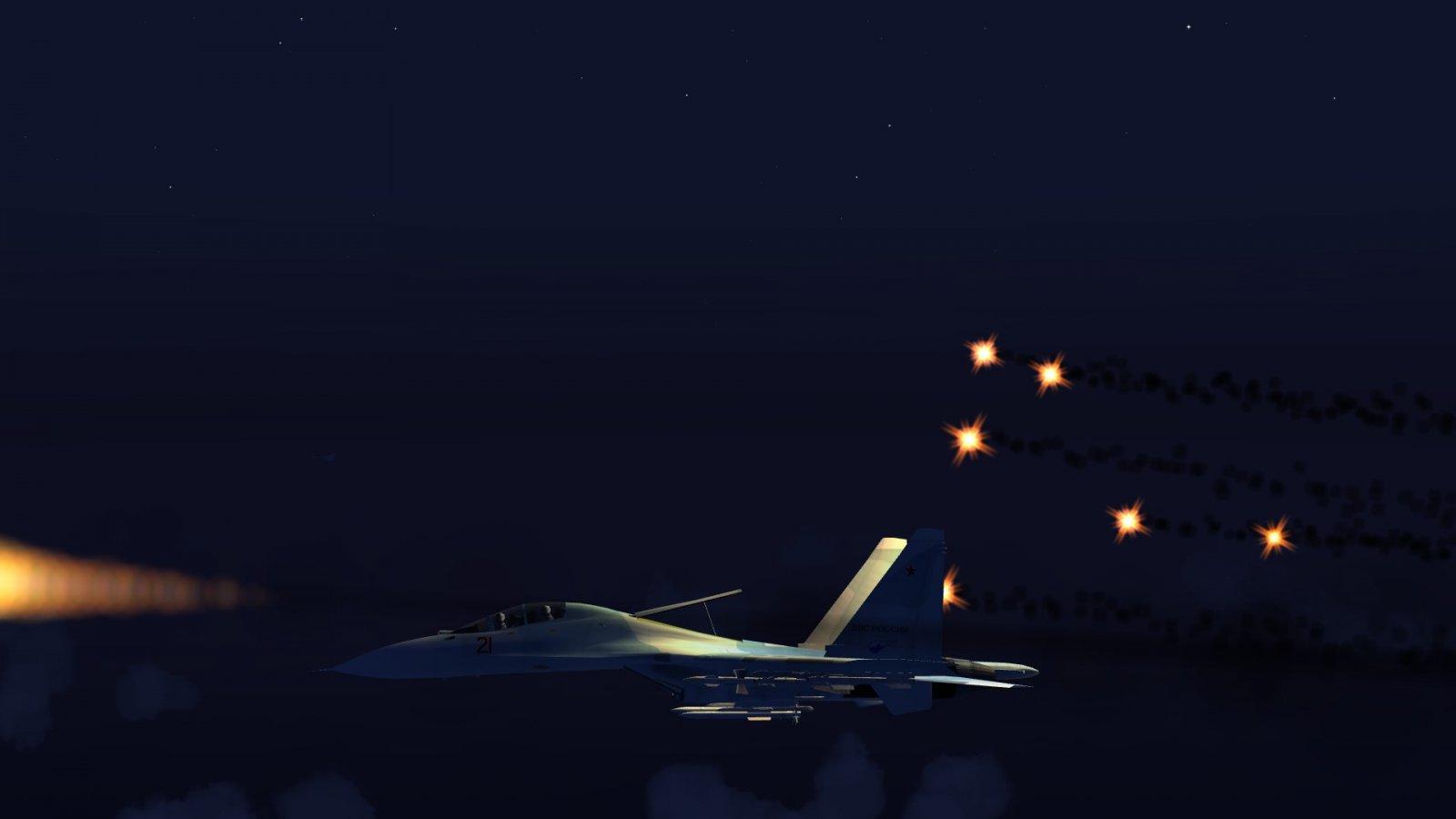 Su-30 Firing Off Flares