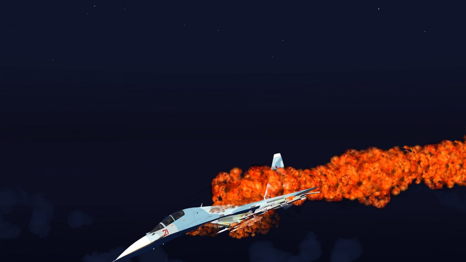 Flanker Going Nose Down & Aflame