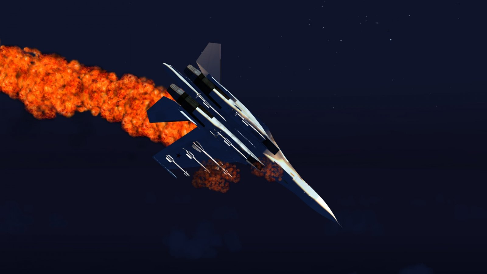 Su-30 Lost A Wing & Aflame