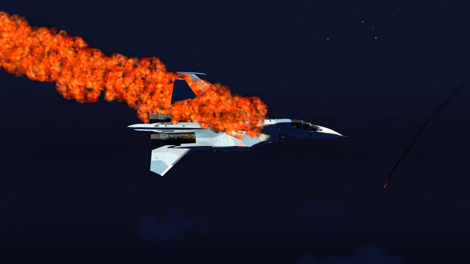 Broken Su-30 Aflame
