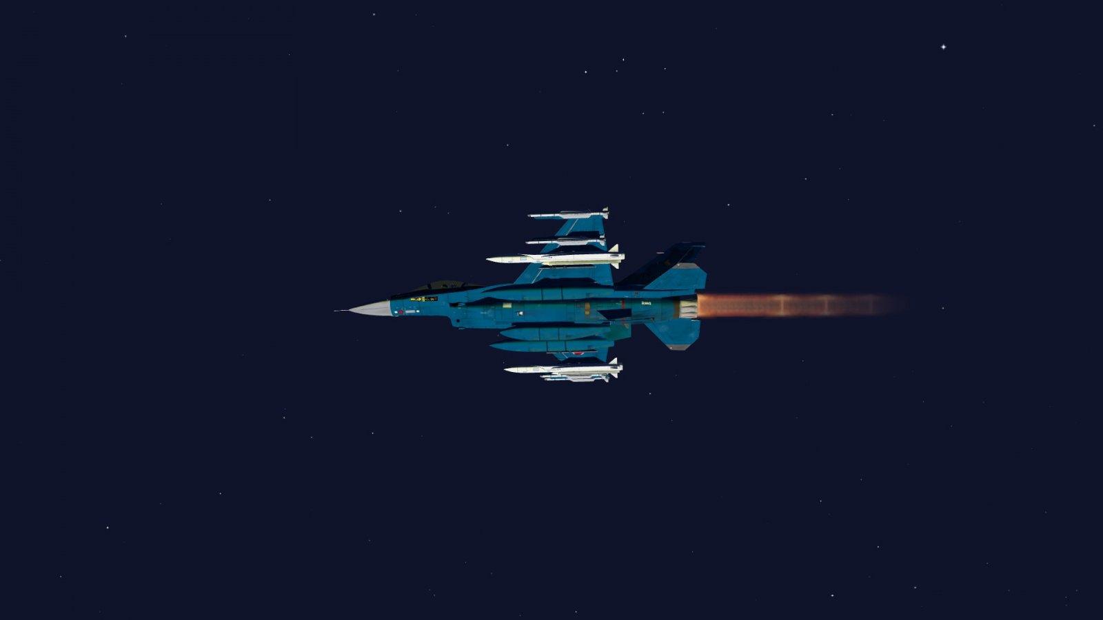 ASM-3 Rocket Lighting Up F-2A Underbelly