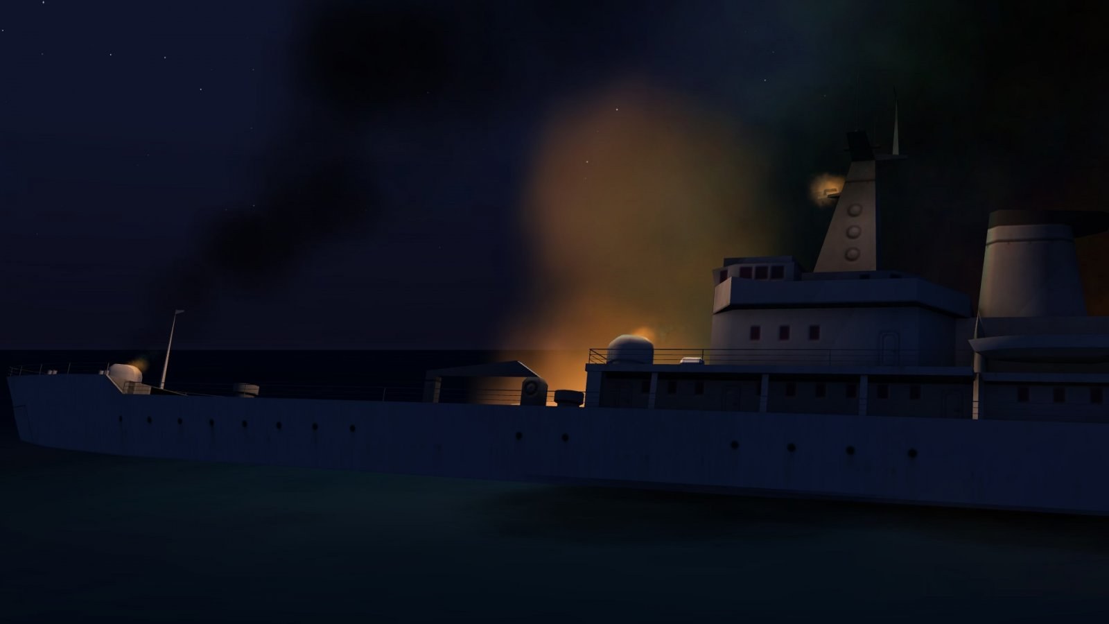 Russian Ship Aflame