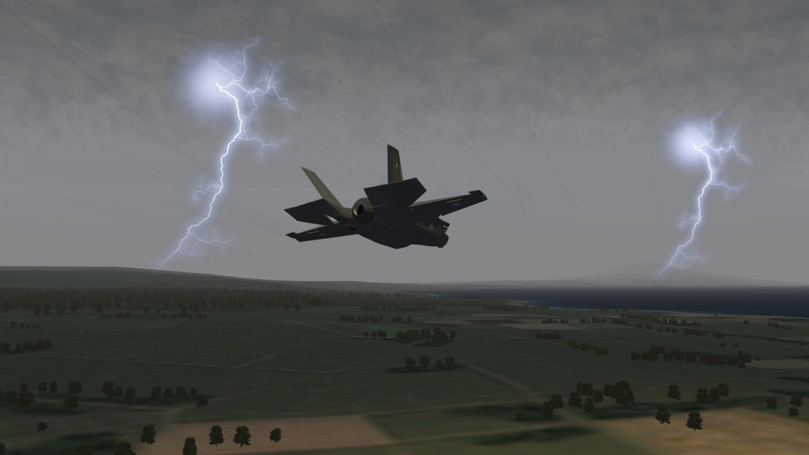 F-35A Lightning II Down Low While Lightning of a Different Kind Also Stings