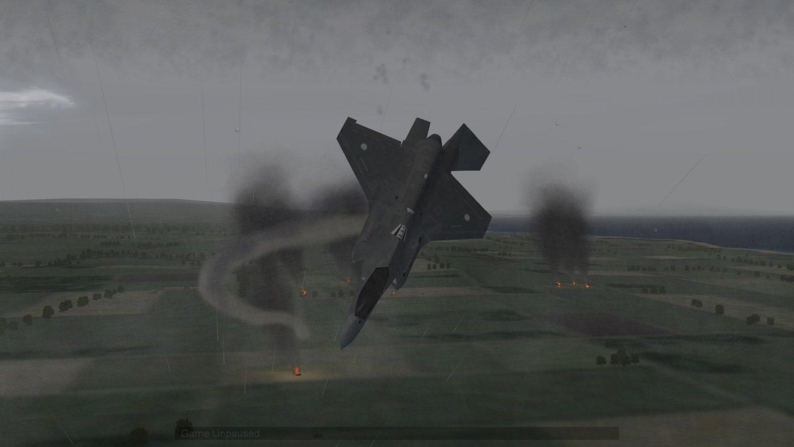 Tumbling F-35A Leaving Behind Smoke