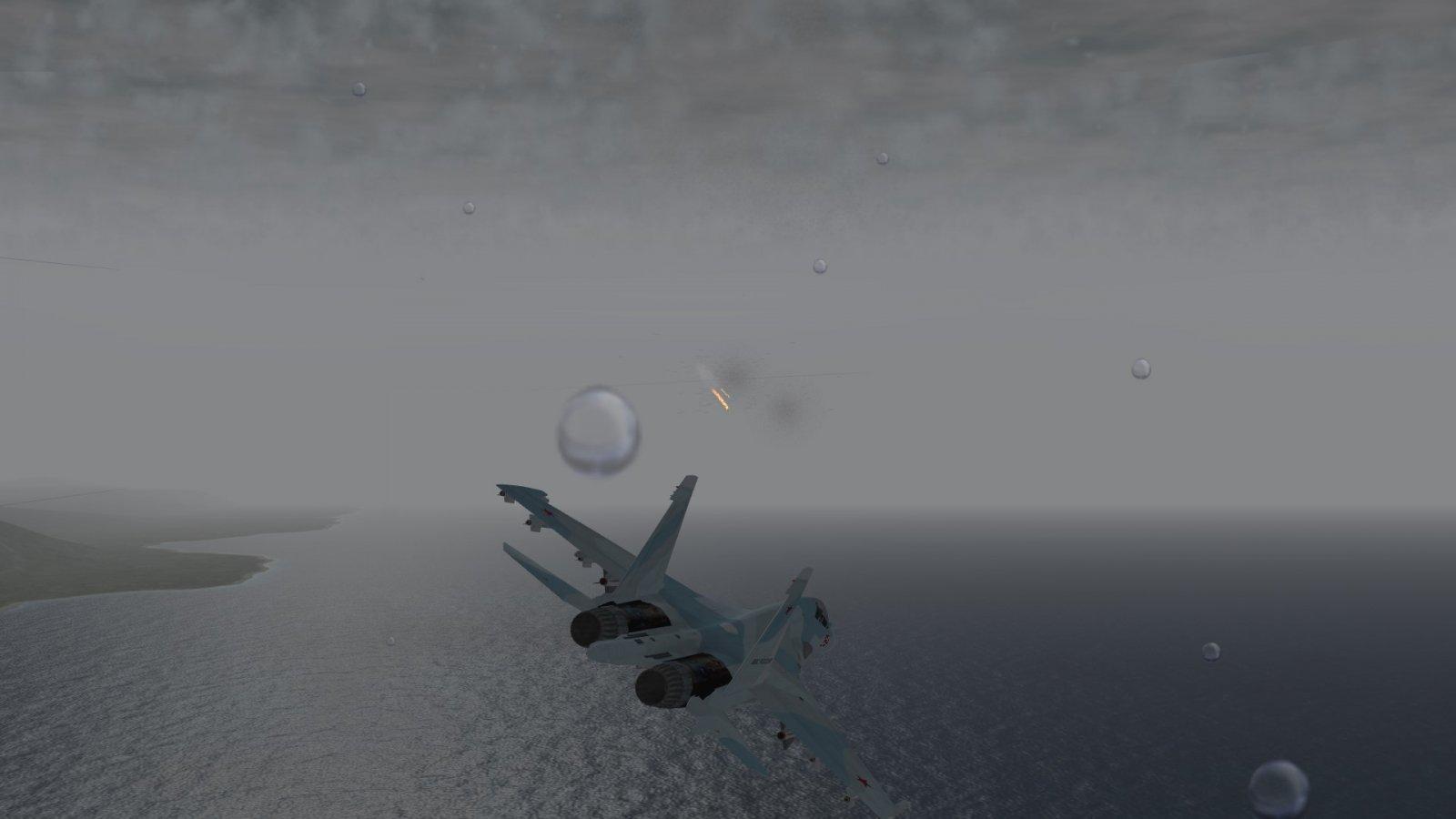 Su-30 Racing to Intercept Thru the Rain