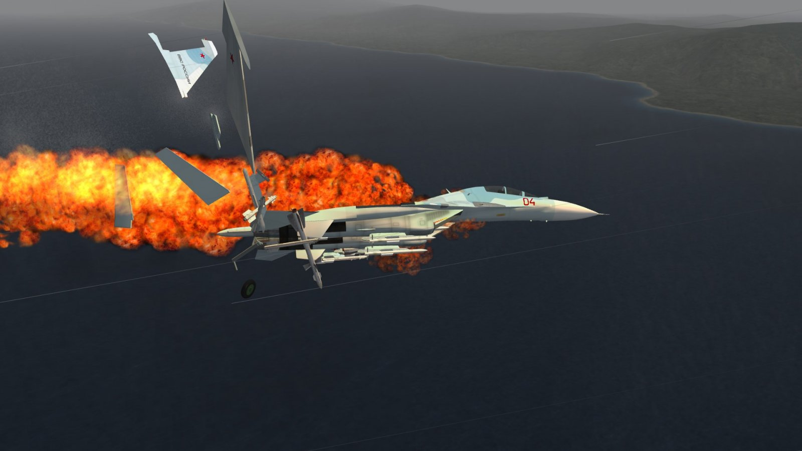 Su-30 Exploding From PATRIOT Impact