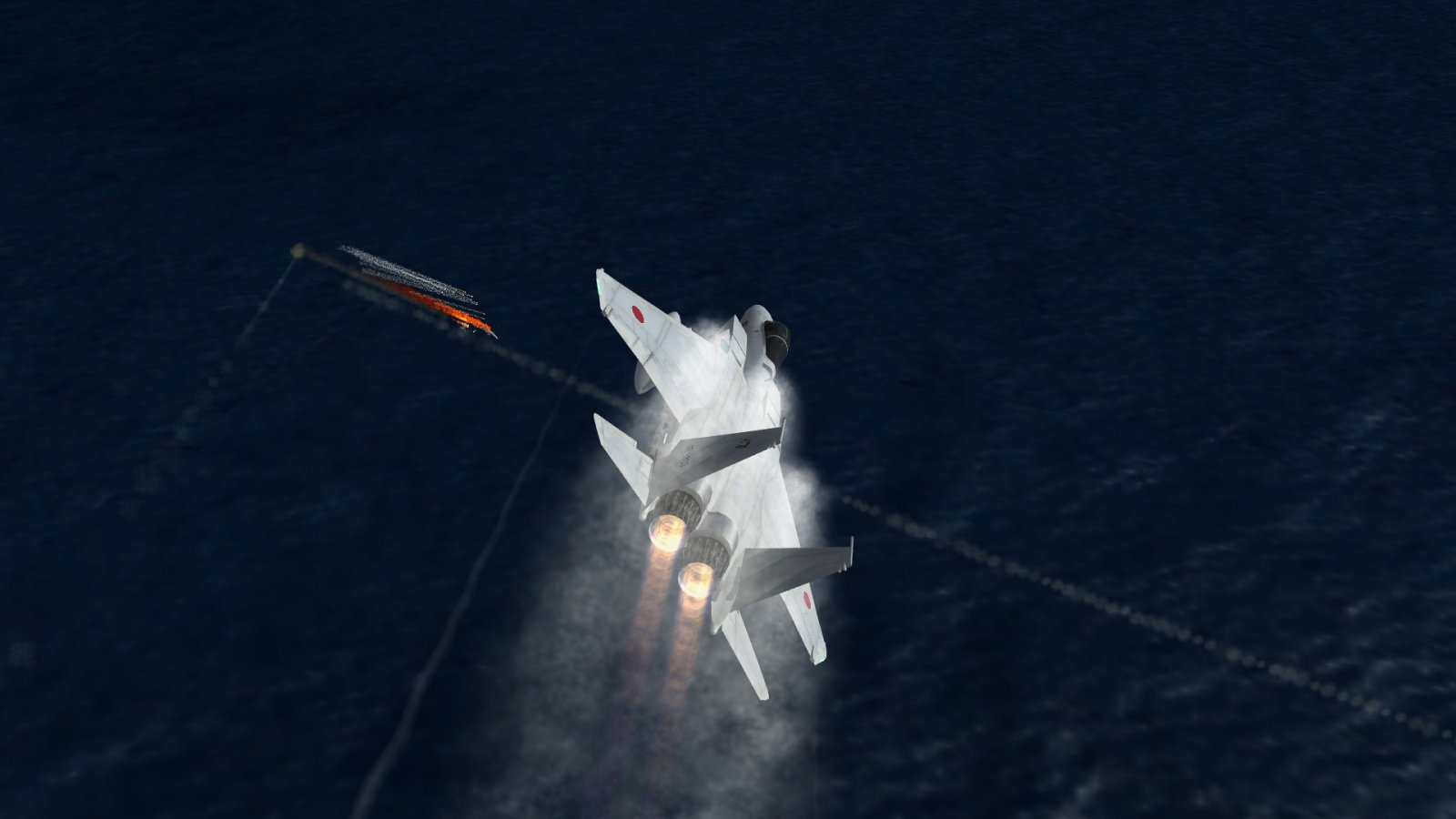 F-15J in Afterburners Over Shot-Down Su-30 & ASM-3