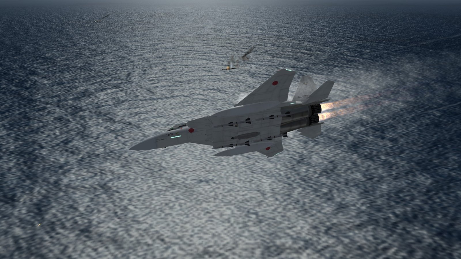 F-15J Banking Around Wounded Civilian Cargo Ship