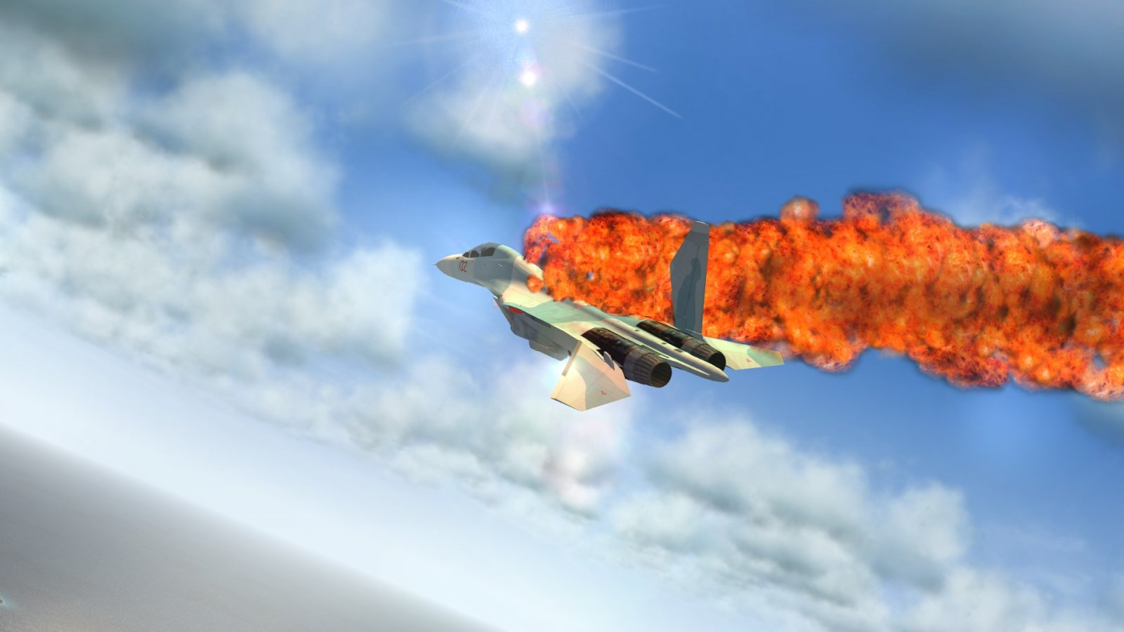 Tumbling Aflame Shot Up Su-30