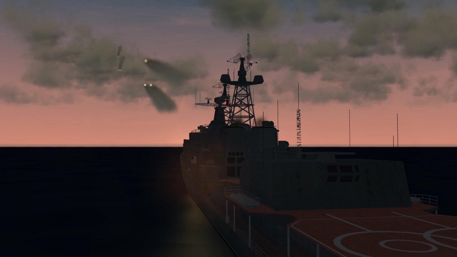 Udaloy Firing SAMs at Incoming ASM-2s