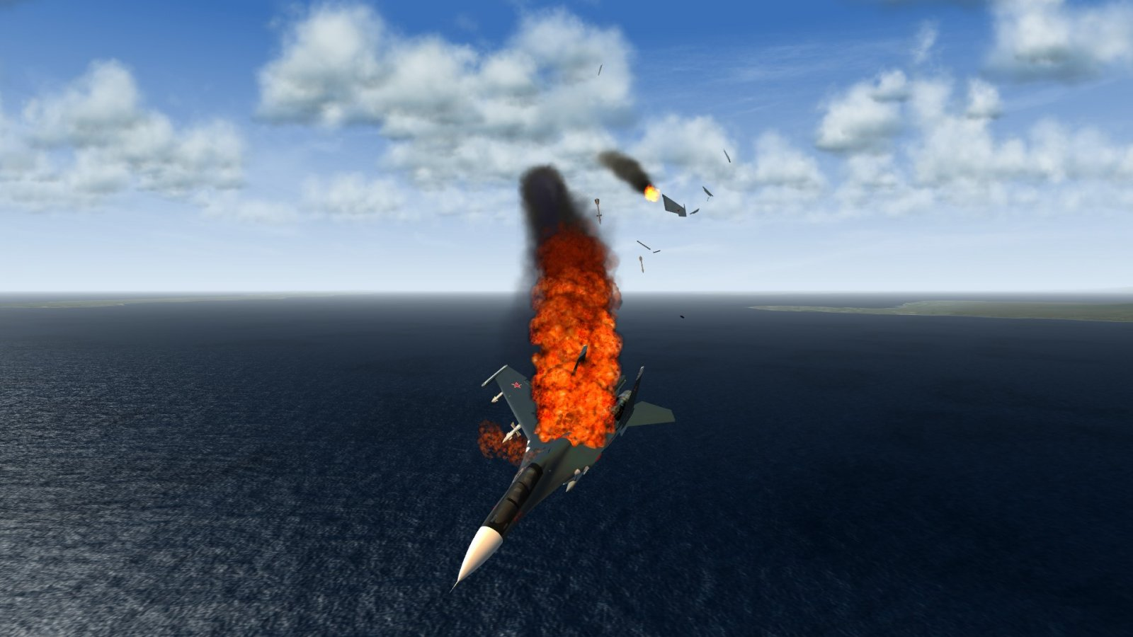 Su-30 Hit & Falling Apart Into the Sea
