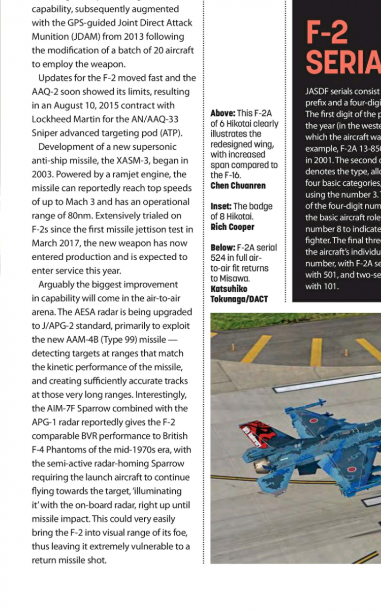Combat Aircraft March 2019 Clipping About F-2A Getting SNIPER Pod...