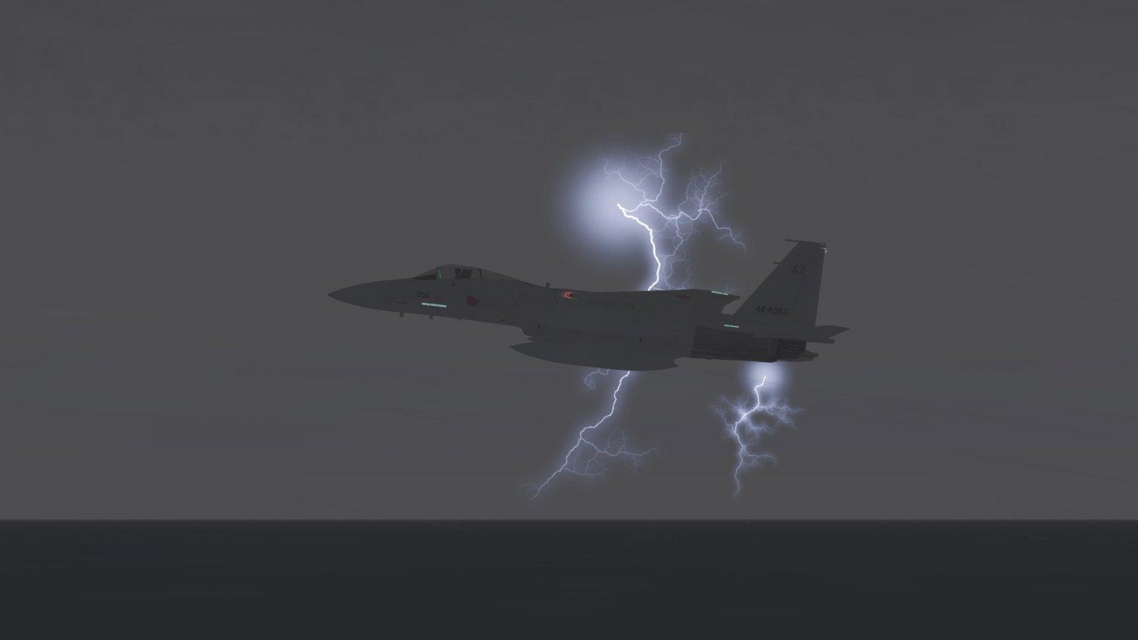 F-15J Posing With Lightning Bolts