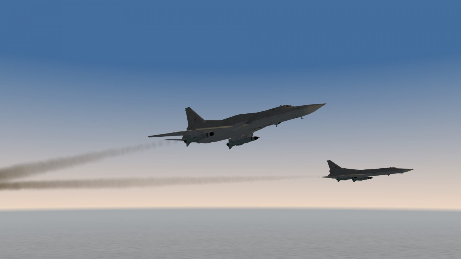 Two Tu-22M3 Backfires Flying High