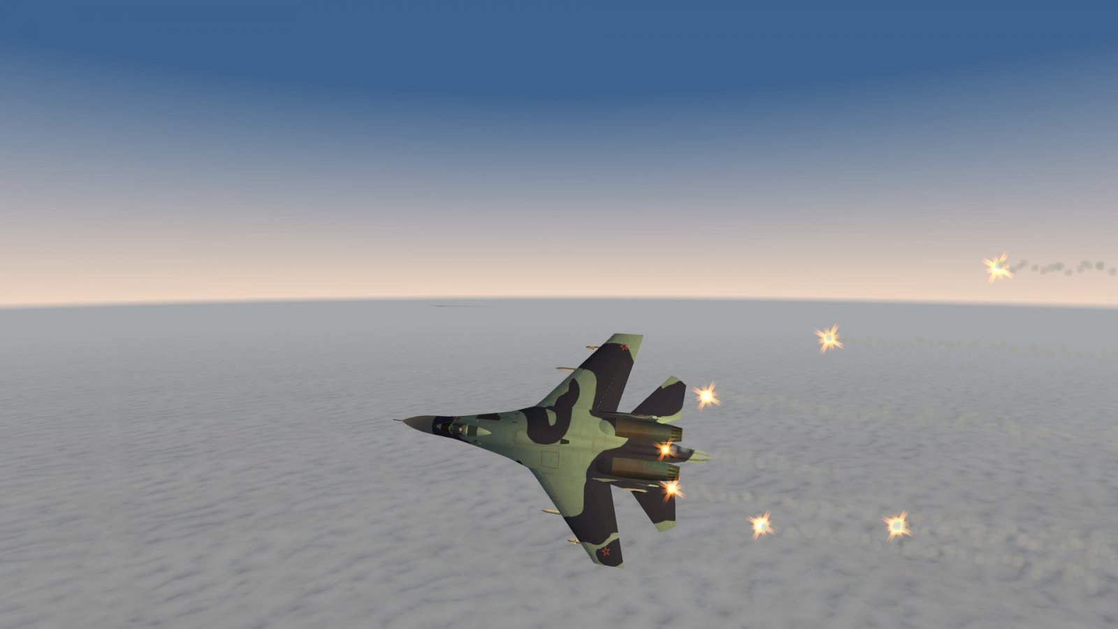 Su-27 Flanker Desperately Putting Out Flares