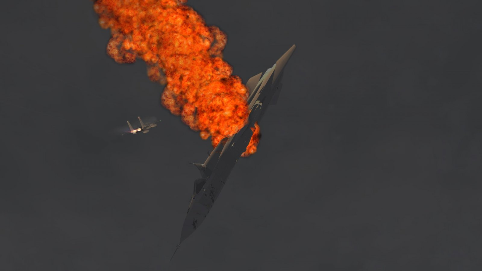 F-15J Racing Past Shot Down Su-22 Fencer