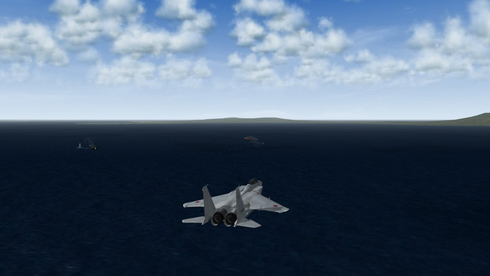 F-15J Eagle On CAP Over Civilian Ships