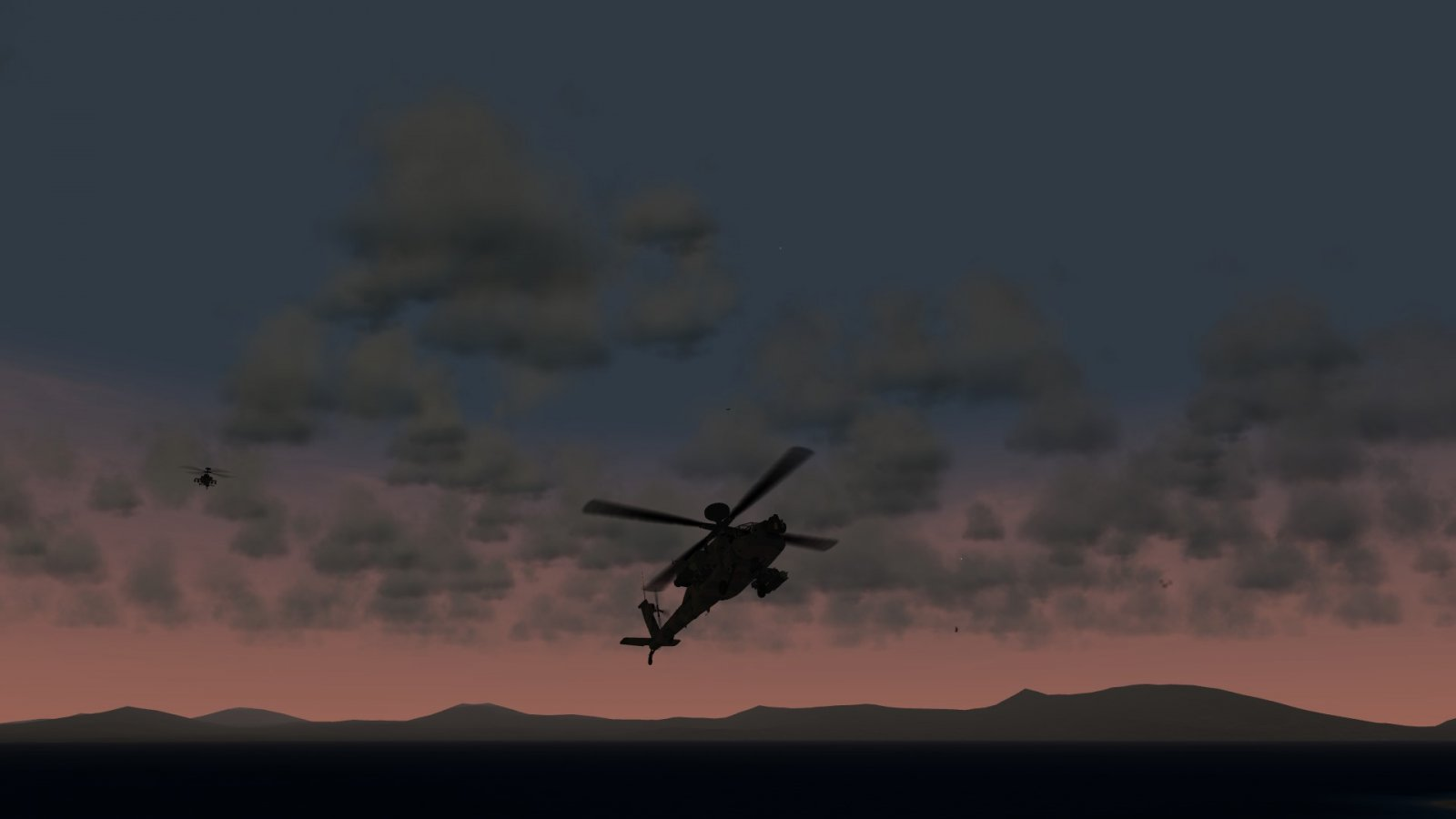AH-64s in the Sunset Sky