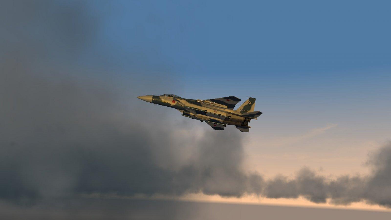 Aggressor F-15DJ in the Sunset & Clouds