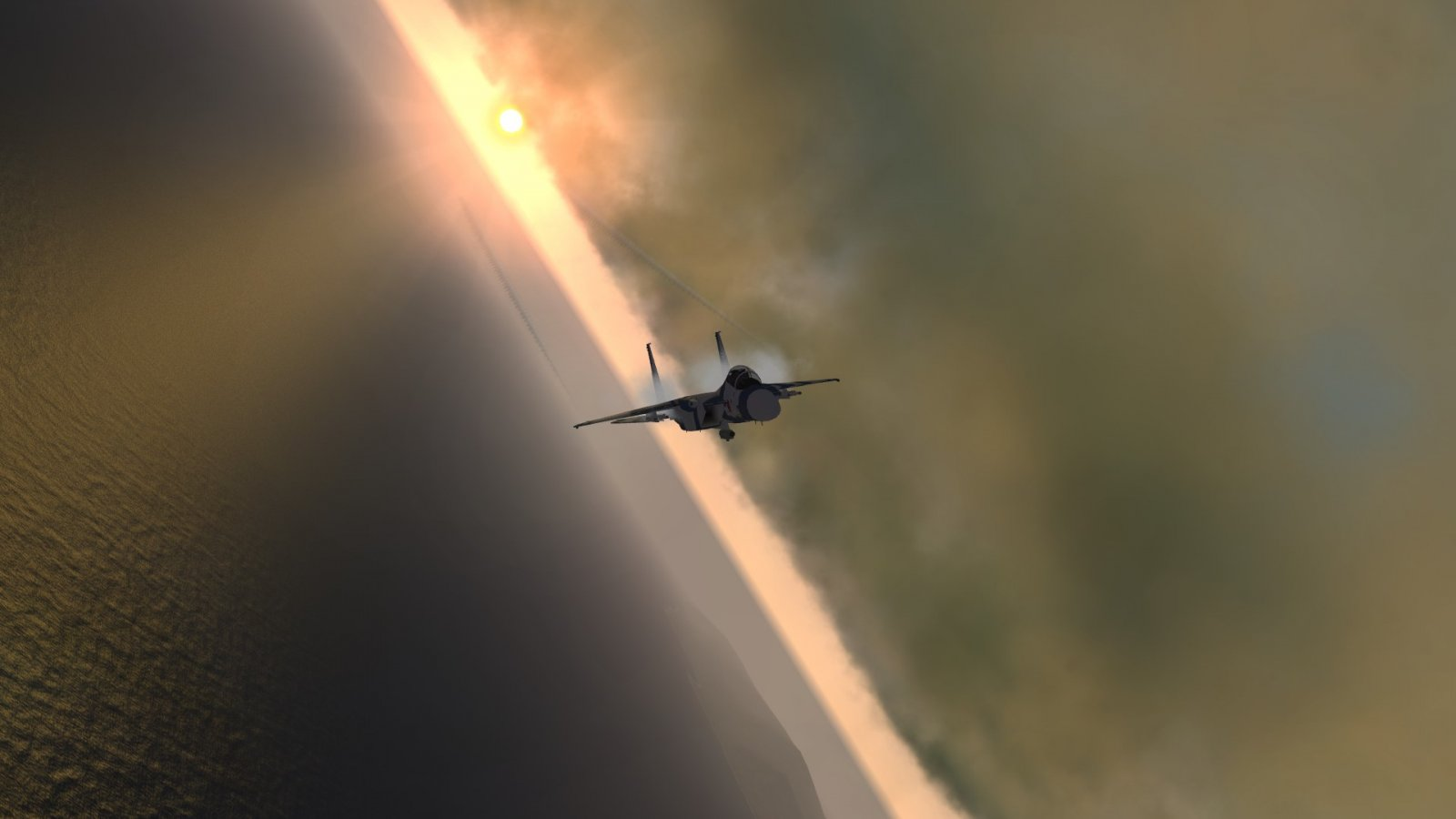 F-15J Pulling Vapes in the Sunset