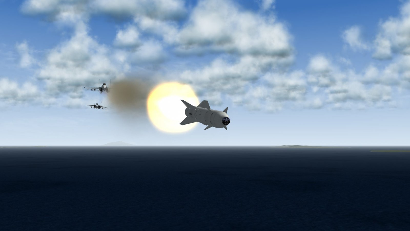 Kh-29TE Cooked Off From Su-30SM While A F-15J Lurks Behind