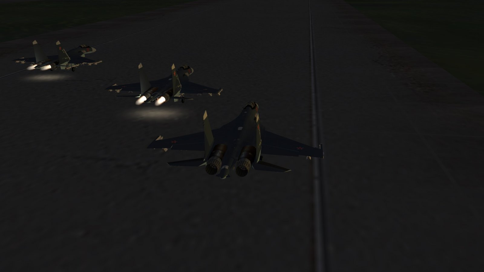 Flanker Formation Take-Off in the Kuril Islands Sunset