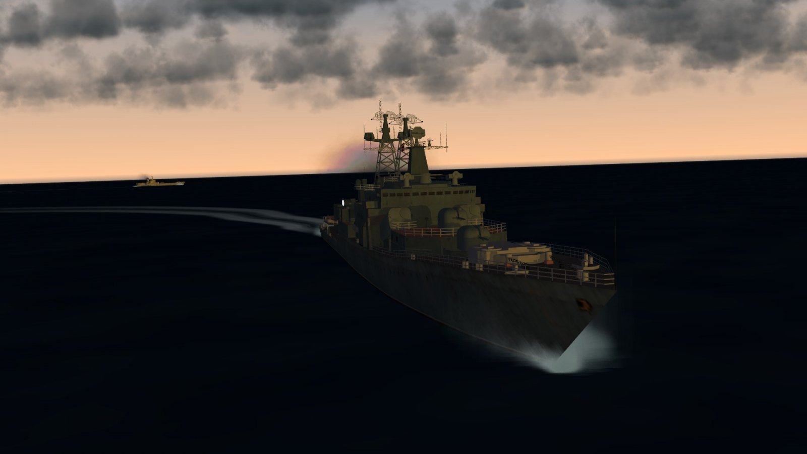 A Udaloy Makes An Aggressive Turn in the North Pacific Sunset