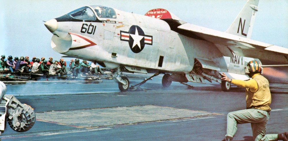 RF-8G_Crusader_of_VFP-63_is_launched_from_USS_Coral_Sea_(CVA-43),_in_1973.jpg